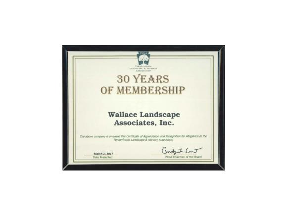 Wallace Celebrates 30 Years with Pennsylvania Landscape and Nursery Association