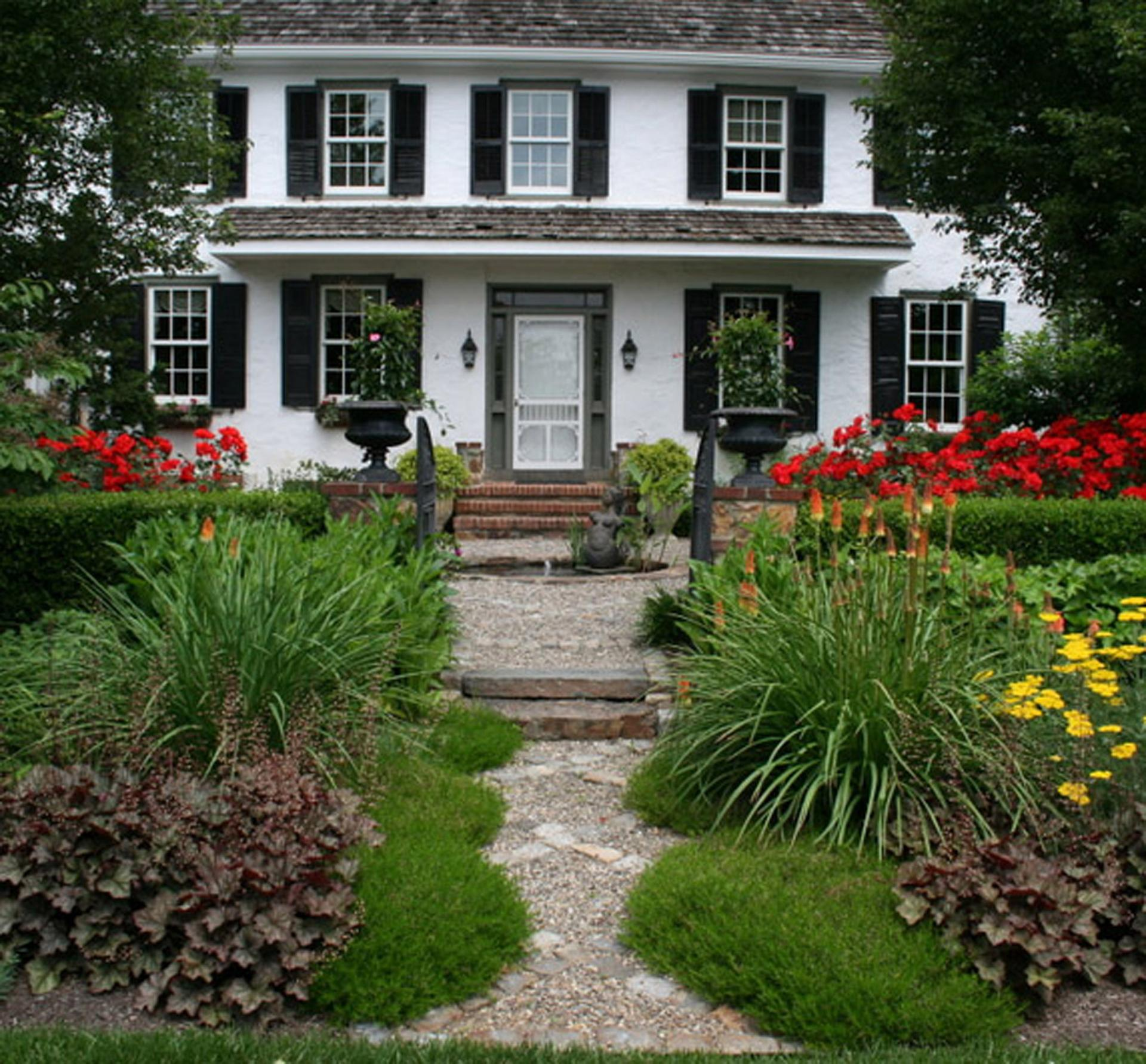 front-entrance-perennial-border-pathway-farmhouse-living